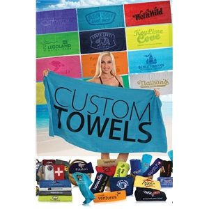 30x60 Terry Velour Promotional Beach Towel 11 Lb per Dz.