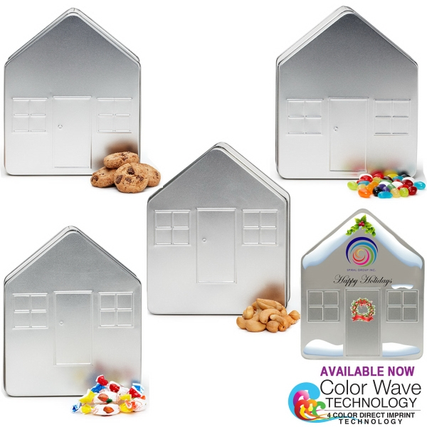 House Shape Tin Box Filled with Cashews
