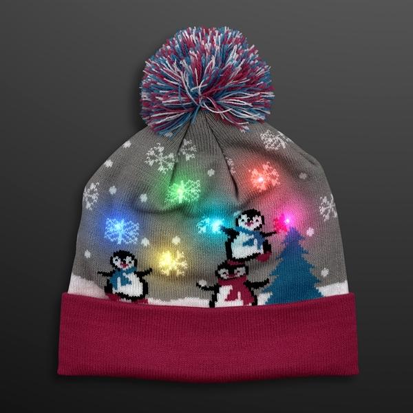 23132bd8f949a9 Cute Penguins LED Beanie Hat, Blinky Knit Cap