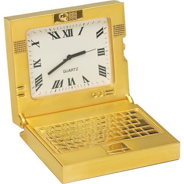 Gold Die Cast Laptop Clock