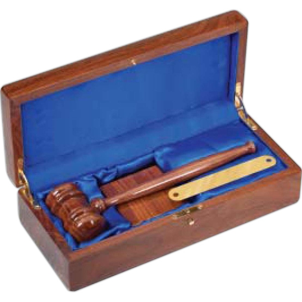 Walnut Finish Gavel Set